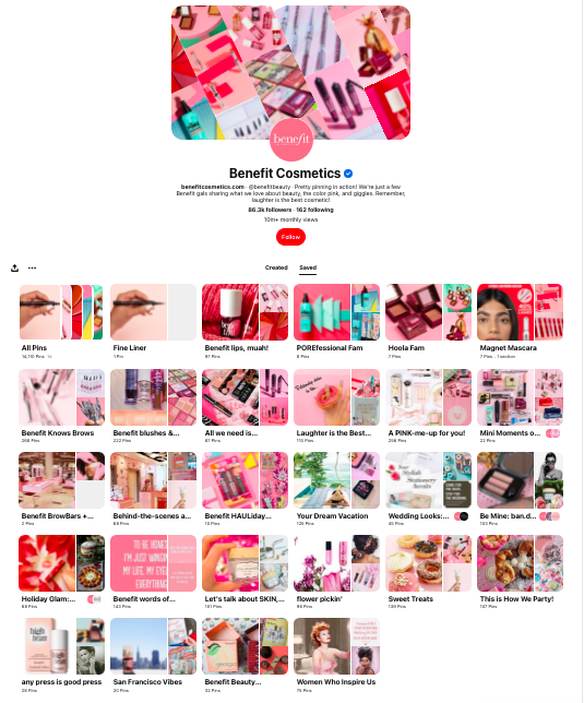 Benefit Cosmetics boards on pinterest