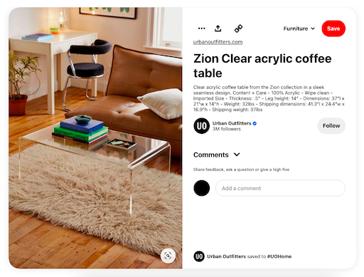 urban outfitter's business pinterest account example of a product pin