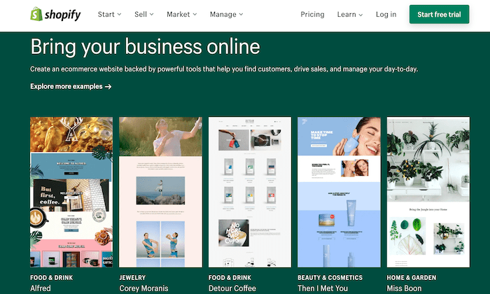 Shopify main page for Best Content Management Systems