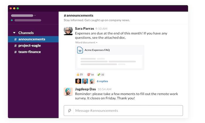 Slack interface for Best Collaboration Software