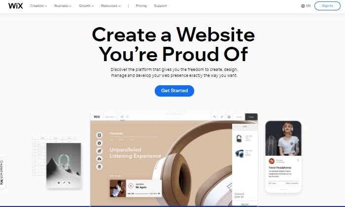 Wix main page for Best Free Website Builders