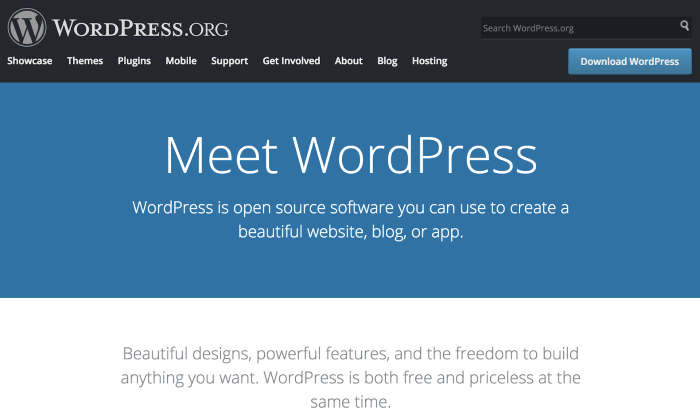 WordPress.org homepage for How To Build a WordPress Website