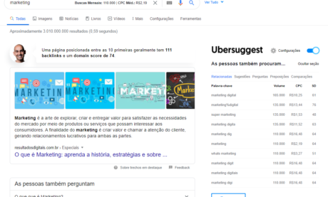Extensão do Ubersuggest para o Chrome